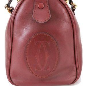 Must De CARTIER Burgundy Leather Boston Hand Bag
